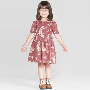 OshKosh B'gosh | Burgundy Floral Ruffle Dress
